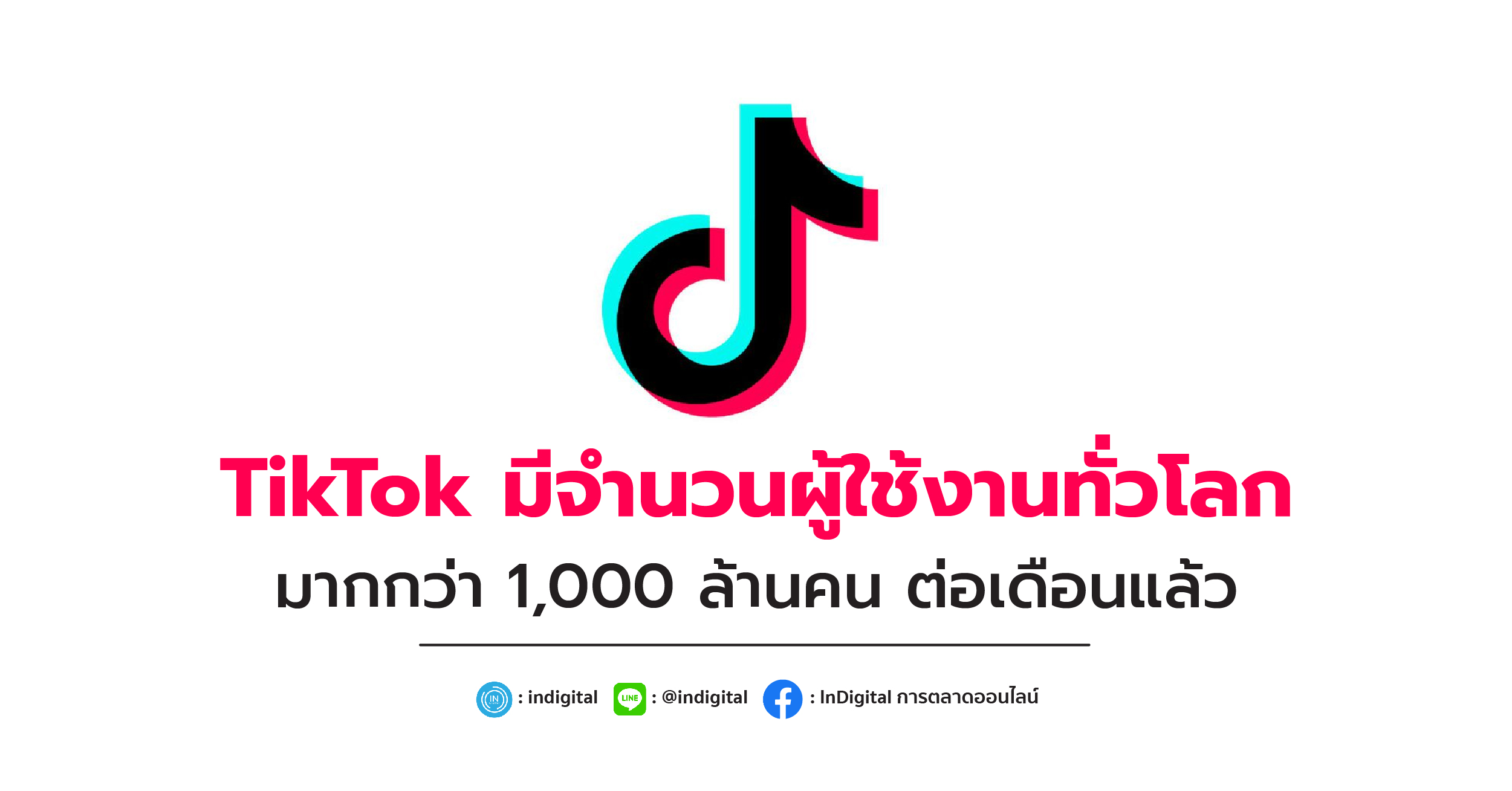 TikTok มีจำนวนผู้ใช้งานทั่วโลกมากกว่า 1,000 ล้านคน ต่อเดือนแล้ว